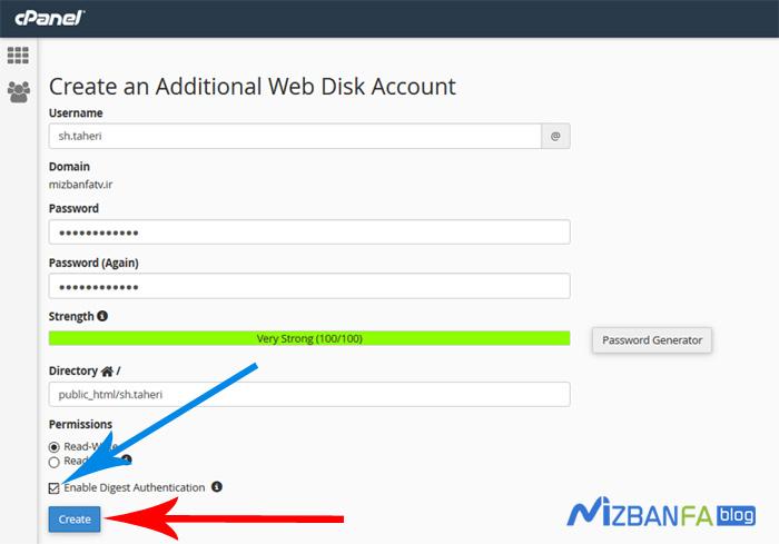 آموزش ایجاد اکانت web disk جدید در سی پنل