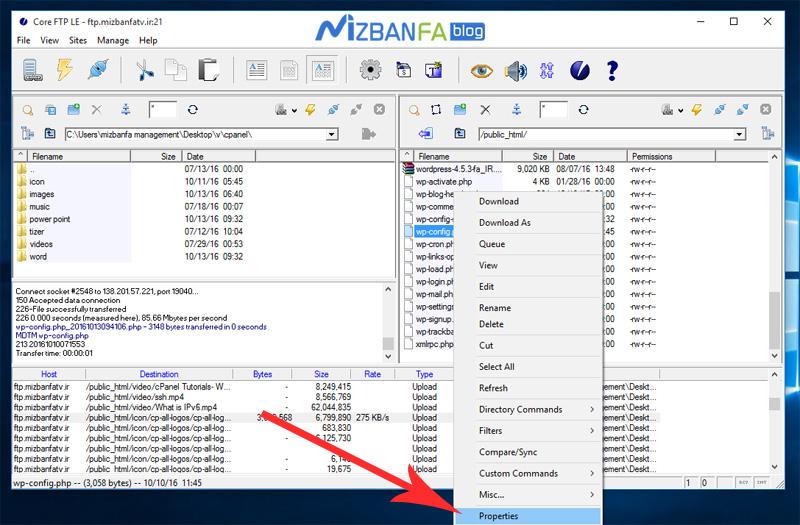 تغییر سطح دسترسی فایل ها در coreftp