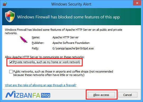 رفع خطای windows security alert در زمپ