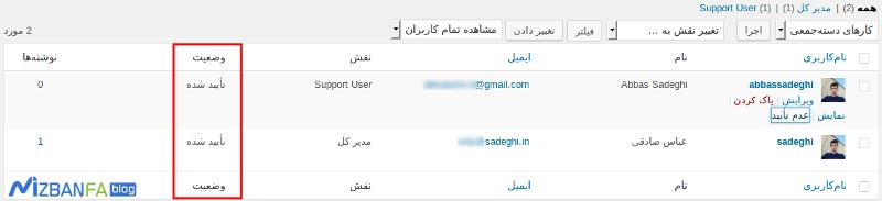 تایید حساب کاربری در وردپرس