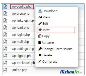 آموزش تغییر مسیر فایل wp-config.php