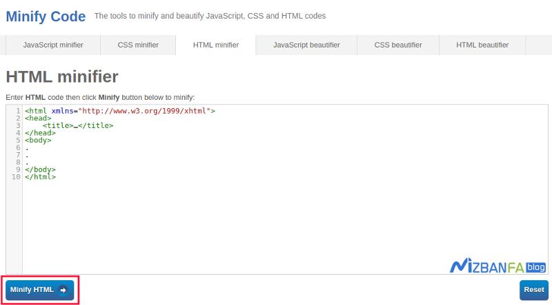 رفع خطای Minify HTML در gtmetrix و افزایش سرعت سایت
