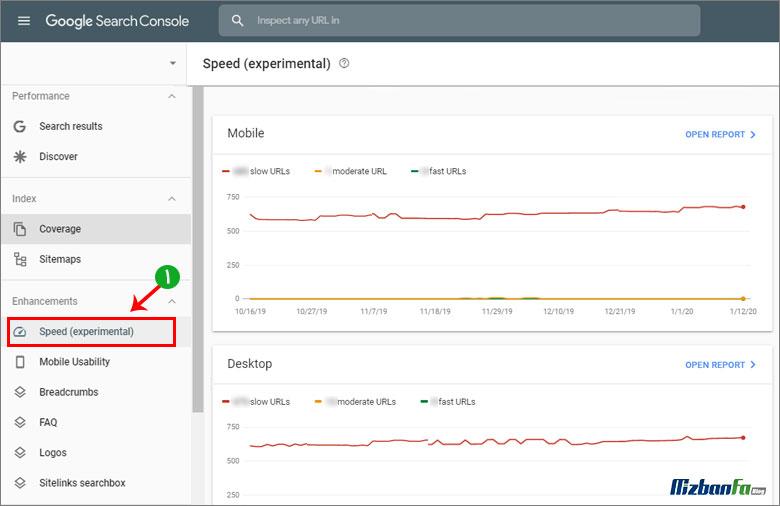 گزارش سرعت بخش enhancements گوگل سرچ کنسول