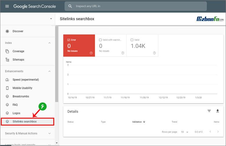 گزارش Sitelinks Searchbox بخش enhancements گوگل سرچ کنسول