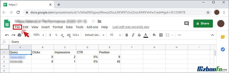 آموزش کار با export data در google search console