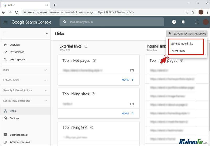 کار با export data در google search console