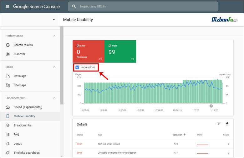 صفحات گزارش mobile usability سرچ کنسول گوگل