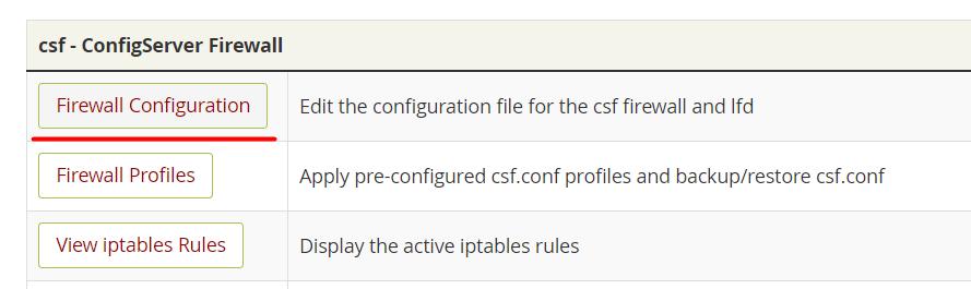 فعال کردن فایروال CSF