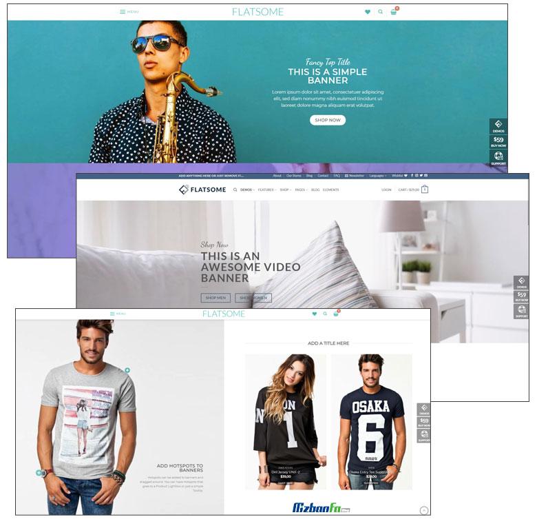 پشتیبانی قالب فروشگاهی فلت سام از بک گراند ویدیویی و پارالاکس