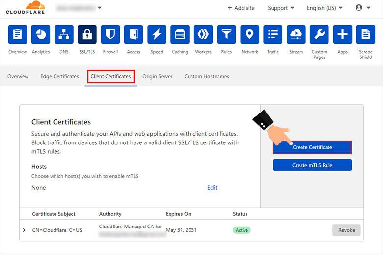 زبانه Client Certificates برای احراز هویت متقابل کلاینت و سرور