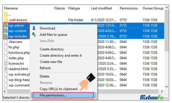 مشکل سطح دسترسی فایل ها و پوشه ها در وردپرس