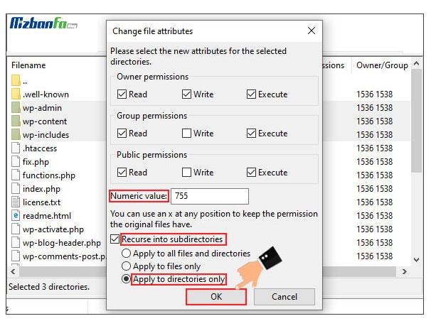 رفع مشکل سطح دسترسی فایل ها و پوشه ها در وردپرس