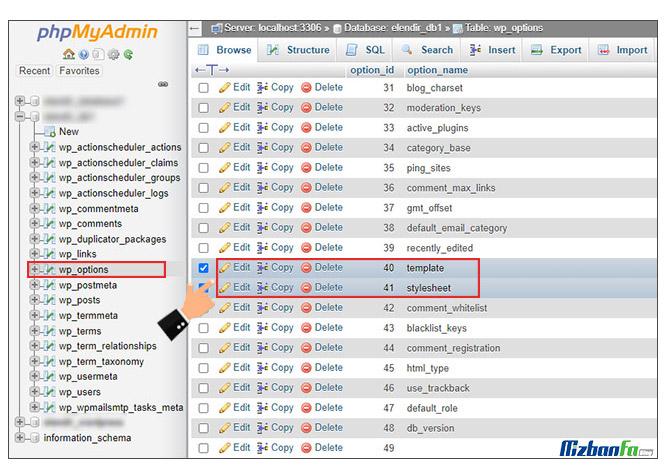 آموزش نحوه تغییر قالب وردپرس در دیتابیس از طریق phpMyAdmin