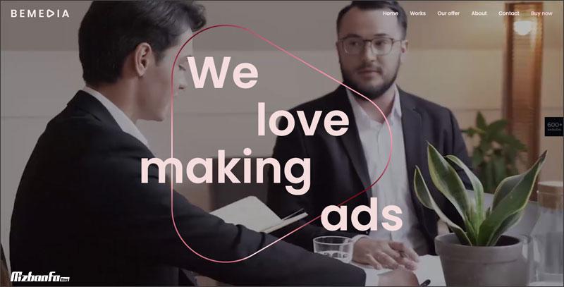 امکان استفاده از بک گراند ویدیویی و پارالاکس در قالب بی تم وردپرس