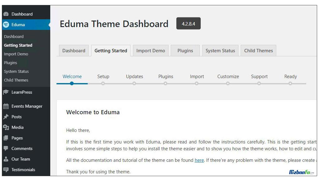 آموزش تنظیمات قالب ادوما وردپرس