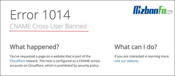 ارور 1014: CNAME Cross-User Banned