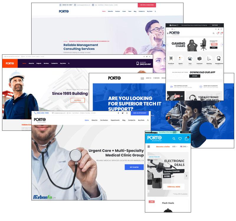 ارائه 109 وب سایت آماده در پوسته پورتو