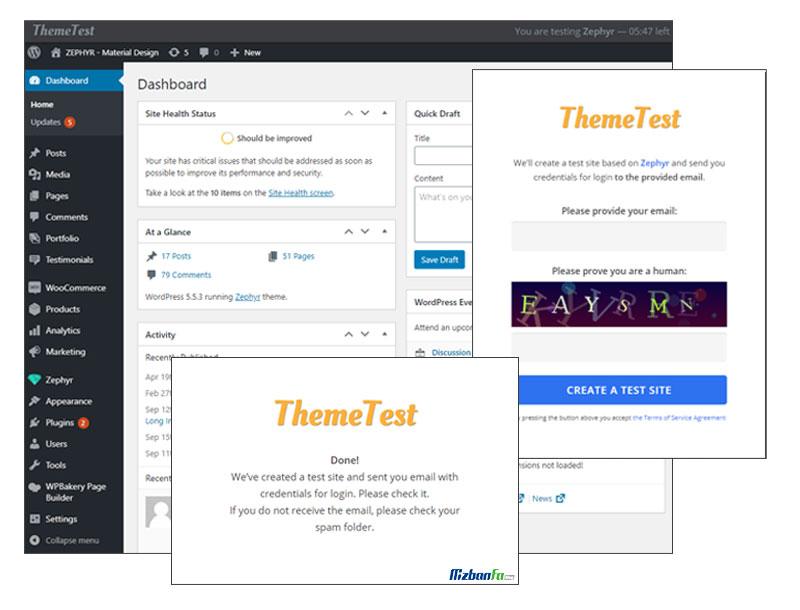ارائه پنل مدیریتی آزمایشی قبل از خرید قالب زفایر وردپرس