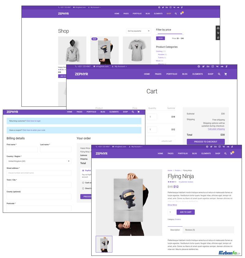 سازگاری قالب شرکتی وردپرس زفایر با فروشگاه ساز ووکامرس