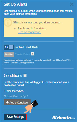 فعال کردن نوتیفیکشن ایمیل جی تی متریکس