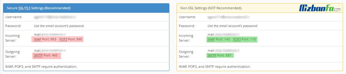 تنظیمات پورت ایمیل برای اتصال به اوت لوک