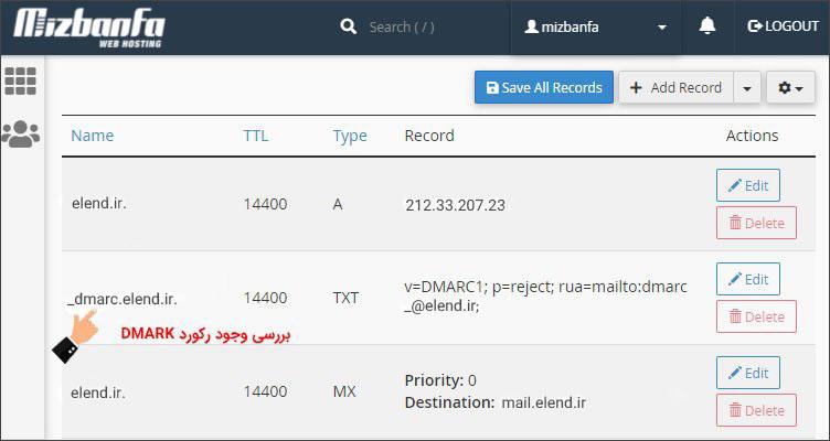 بررسی رکورد DMARK هاست