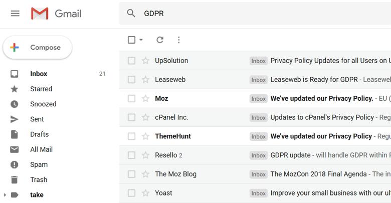 ایمیل gdpr
