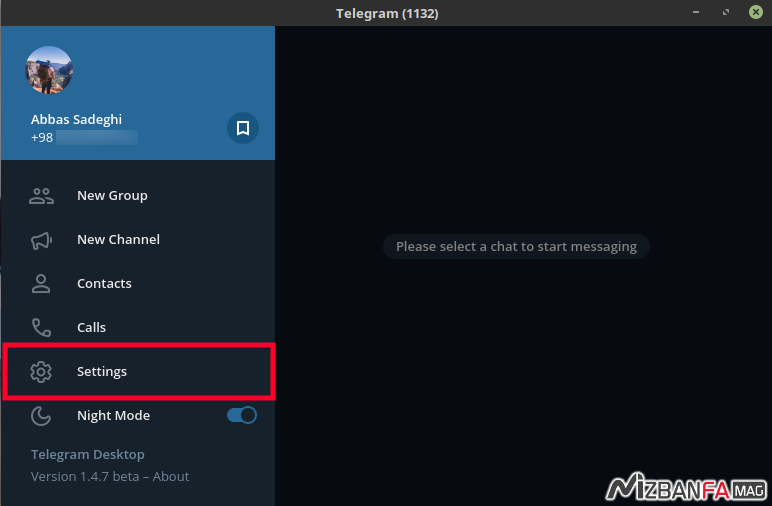 نحوه خروج از تلگرام در کامپیوتر   log out کردن در تلگرام دسکتاپ