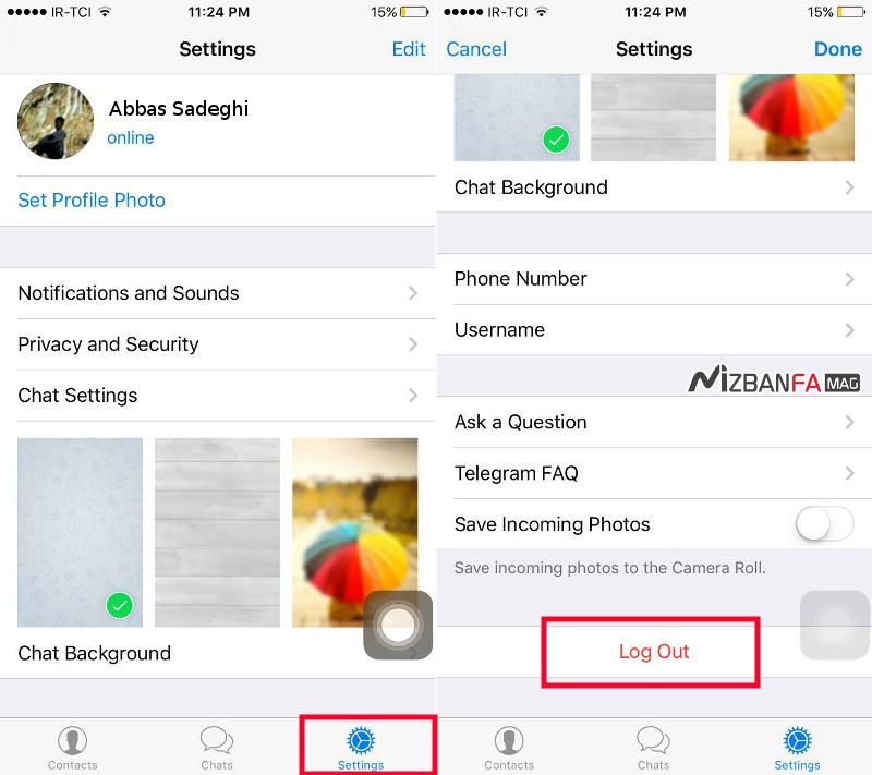 نحوه خروج از تلگرام در آیفون | log out کردن از تلگرام در ios