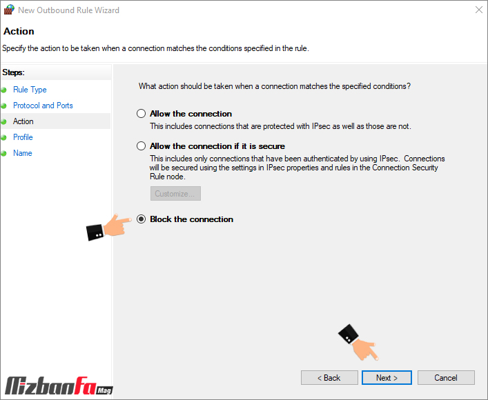 بستن پورت های شبکه با فایروال