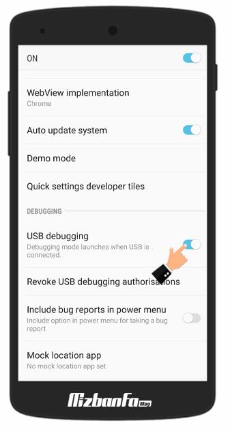 نحوه فعالسازی USB debugging و developer options در گوشی