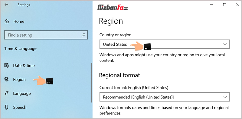 تغییر منطقه برای مایکروسافت استور