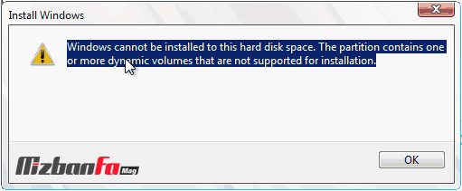 The partition contains one or more dynamic volumes that are not supported for installation
