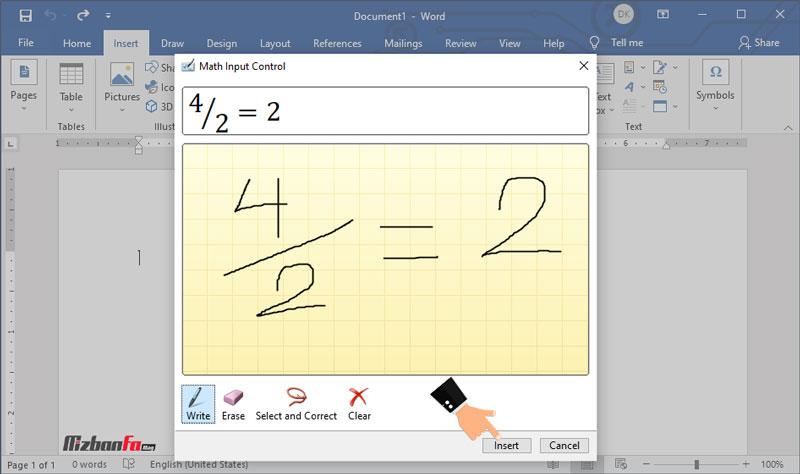نحوه نوشتن فرمول در ورد